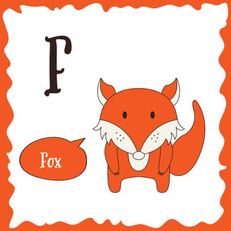 Funny cartoon animals. F letter. Cute alphabet for children education. Vector illustration.