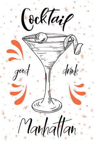 Alcoholc cocktail Manhattan. Party summer poster. Vector background