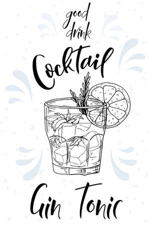 Alcoholc cocktail Gin Tonic. Party summer poster. Vector background
