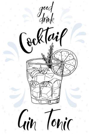 Cóctel alcohólico Gin Tonic. Cartel de fiesta de verano. Vector de fondo Ilustración de vector