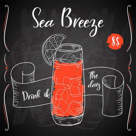 Vector dring poster. Cocktail Sea Breeze for restaurant and cafe. Hand drawn illustration