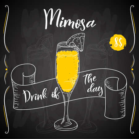 Mimosa cocktail. Hand drawn drink on white background. Vector illustration Illustration