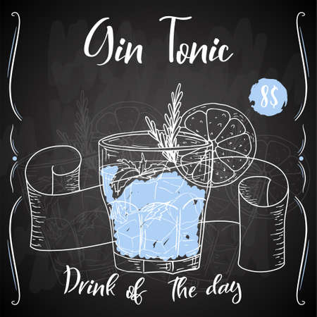 Cóctel Gin Tonic. Bebida dibujada a mano sobre fondo blanco. Ilustración vectorial