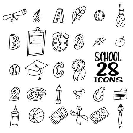 Hand drawn doodle school objects. Concept of education. Verious stuff on vector illustration. Illusztráció