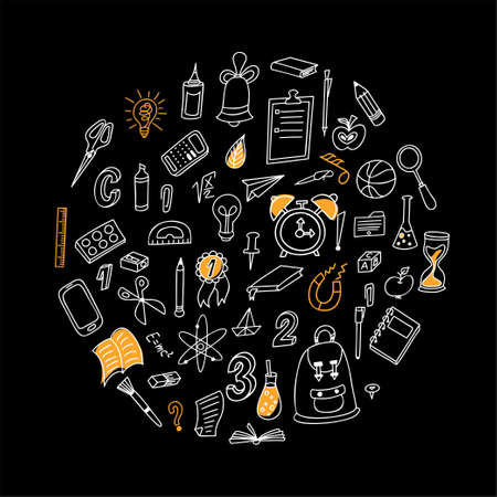 Back to shool design elements. Hand drawn clipart with supplies. Doodle vector illustration. Round composition.