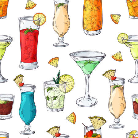 Seamless pattern with hand drawn elements. Cocktails on white background. Vector illlustration.