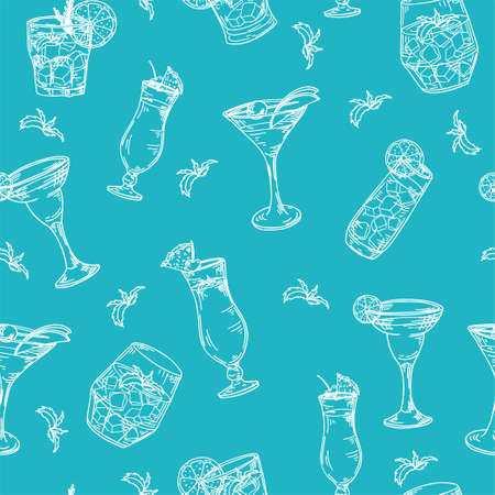 Seamless pattern with cocktails. Color outline on white background. Hand drawn elements in vector.