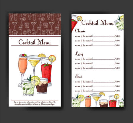 Cocktail kortingsbon voor café of restaurant. Moderne stijl met handgetekende elementen. Vectorillustratie alcohol.