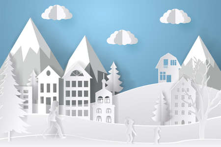 Winter landscape in paper style. Mountains, trees and houses. Layered cut out paper postcard. Vector illustration. 向量圖像