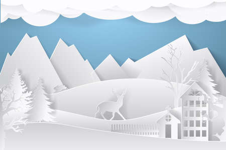 Winter landscape in paper style. Mountains, trees and houses. Layered cut out paper postcard. Vector illustration. Vektorové ilustrace