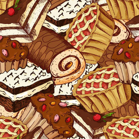 Seamless pattern with desserts. Hand drawn pancakes and buns. Vector illustration for your design.