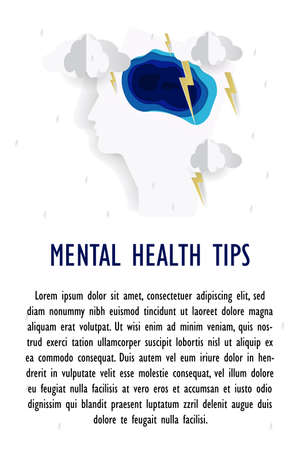 Mental health poster in paper style. Business concept. Vector illustration