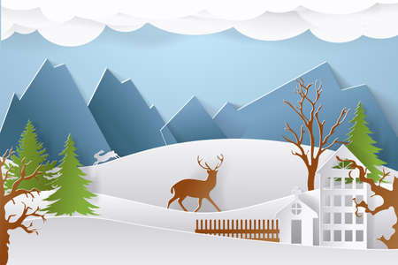 Mountain village with paper art style in color. Landscape city with people for Christmas postcard. vector illustration.
