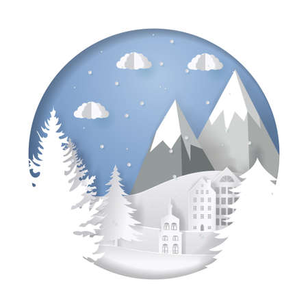 Vector paper art. Christmas illustration template for greeting card, calendar or etc. Winter landscape with deer and mountains.