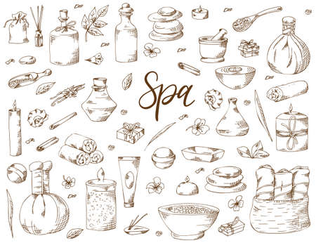 Spa treatment. Hand drawn elements on white background. Healthcare and beauty template for salon. Vector illustration. 矢量图像