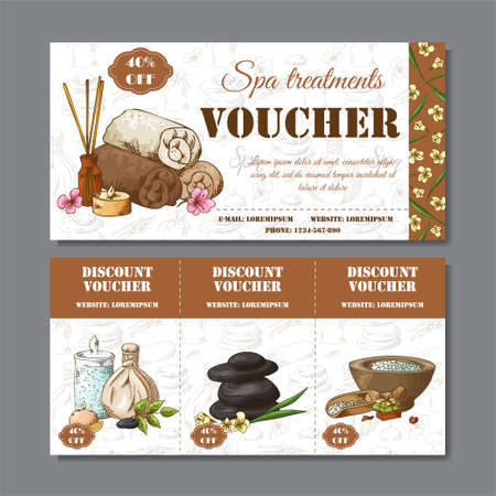 Gift voucher template with spa elements in hand drawn style. Sketch illustration. Design certificate for spa salon, beauty center. Vector pattern Vettoriali