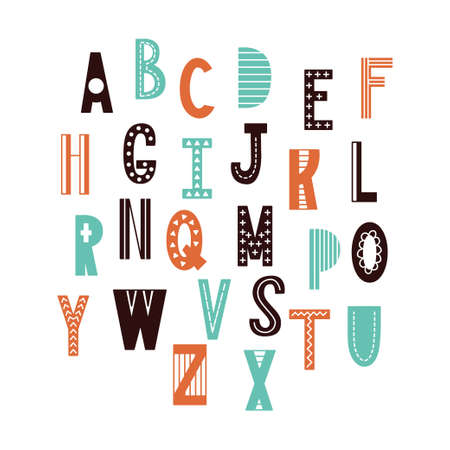 Scandinavian abstract alphabet. Typography poster with hand drawn font. Vector illustartion.