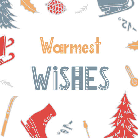 Greeting card with hand drawn elements. Christmas quote in Scandinavian style. Vector illustration.