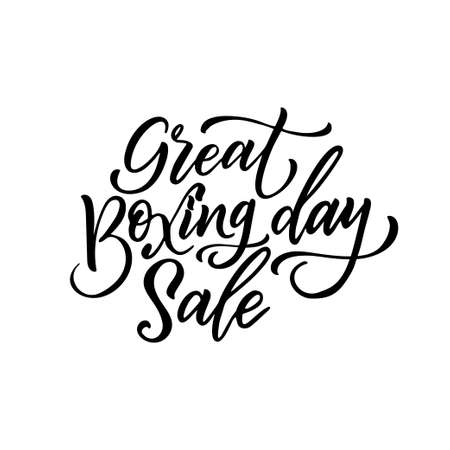 Hand drawn lettering for Boxing day. Modern brush calligraphy. Vector illustration on white background.