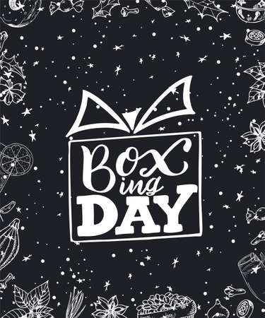 Boxing Day poster. Banner with hand drawn lettering. Sale template design. Vector illustration.