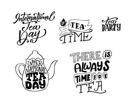 Creative poster with hand drawn lettering. International tea day. Motivational typography for cards. Vector illustration. Иллюстрация