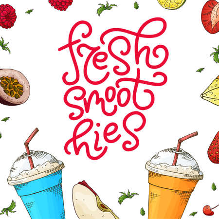 Fresh smoothie poster with hand drawn lettering. Callography design for poster, card, menu. Vector illustration. Иллюстрация