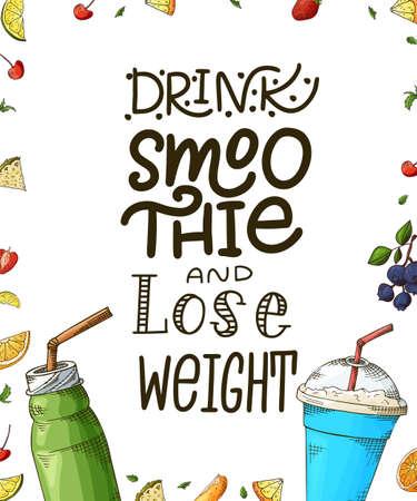 Hand drawn lettering. Template for smoothie menu, poster, banner. Vector illustration background Иллюстрация