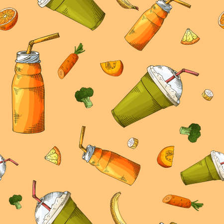 Summer seamless pattern with smoothies. Sketch style with fruits and vegetables. Vector illustration. Иллюстрация