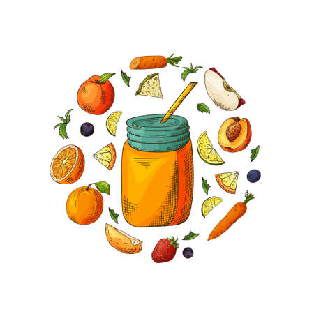 Template design with smoothie for banner, brochure. Organic fruit shake with ingredients. Vector illustration.