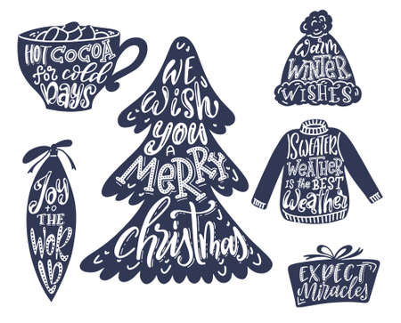 Set of hand lettering quotes for Christmas cards. Warm winter wishes text. Happy New Year. Vector illustration.