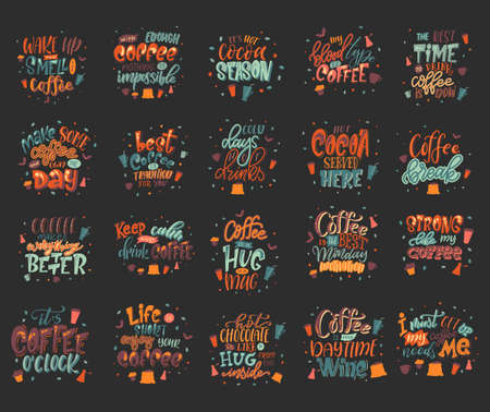 Set of coffee drink quotes. Cafe modern calligraphy with doodle elements. Promotion motivation graphic design. Vector illustration Stock Illustratie