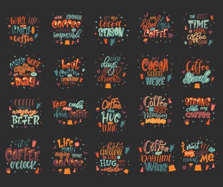 Set of coffee drink quotes. Cafe modern calligraphy with doodle elements. Promotion motivation graphic design. Vector illustration Ilustração