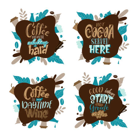 Quote coffee lettering set. Cafe lettering for menu, card, banners. Hand drawn calligraphy. Graphic design vector illustration.
