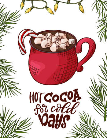 Winter or autumn drink for your design with lettering. Hand drawn sketch for christmas template. Vector illustration Standard-Bild - 134138139