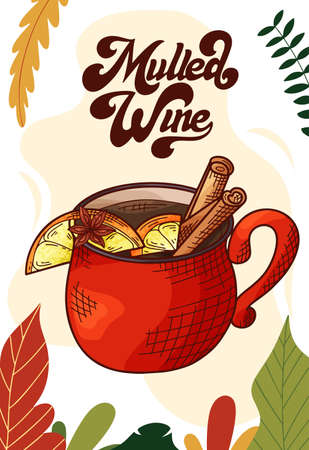 Mulled wine. Cup of hot drink for christmas menu. Colorful collection. Hand drawn vector illustration