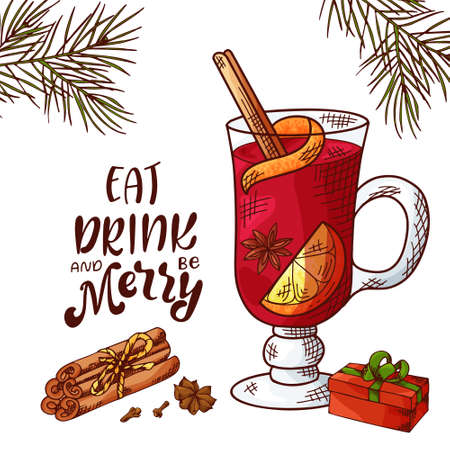 Winter or autumn drink for your design with lettering. Hand drawn sketch for christmas template. Vector illustration Standard-Bild - 134138149