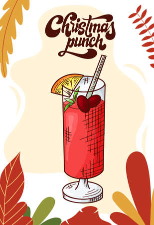 Christmas punch. Cup of hot drink for christmas menu. Colorful collection. Hand drawn vector illustration