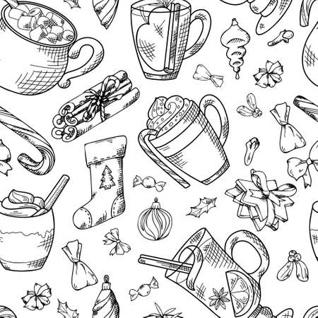 Seamless pattern with hand drawn hot drinks. Sketch winter elements. Holiday christmas vector illustration Standard-Bild - 134138151