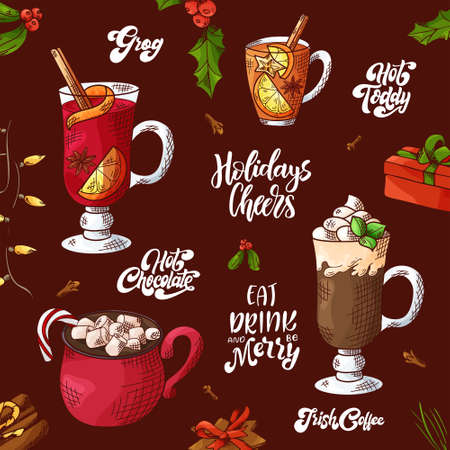 Winter hot drinks. Set of hand drawn sketch. Can be used for bar menu, card, flyer, poster. Christmas lettering. Vector illustration Standard-Bild - 134138154