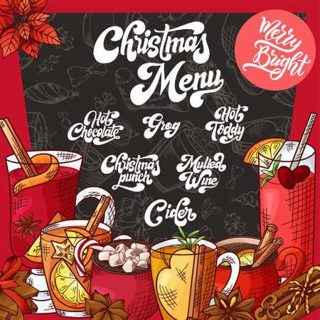 Hand drawn hot drinks. Menu Christmas design. Template with brushlettering. Winter sketch style. Vector illustration Standard-Bild - 134138316