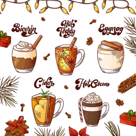 Winter hot drinks. Set of hand drawn sketch. Can be used for bar menu, card, flyer, poster. Christmas lettering. Vector illustration Standard-Bild - 134138319