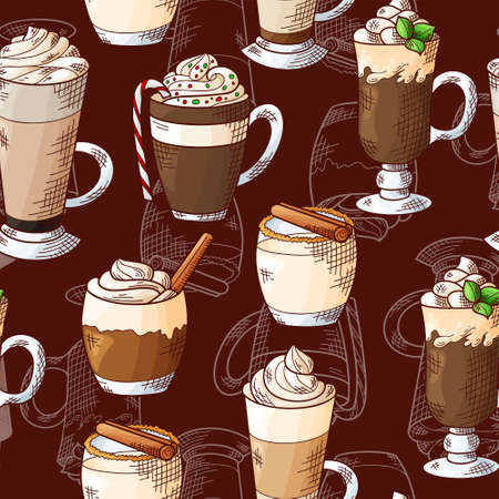 Winter seamless pattern. Cups with hot drinks on hand drawn style. Sketch vector illustration Standard-Bild - 134138326