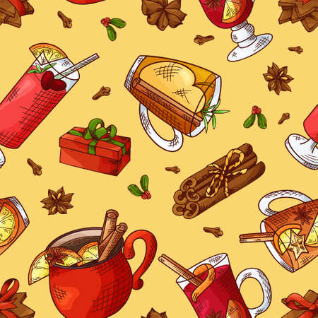 Winter seamless pattern. Cups with hot drinks on hand drawn style. Sketch vector illustration Standard-Bild - 134138416