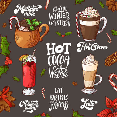 Winter hot drinks. Set of hand drawn sketch. Can be used for bar menu, card, flyer, poster. Christmas lettering. Vector illustration Standard-Bild - 134138417