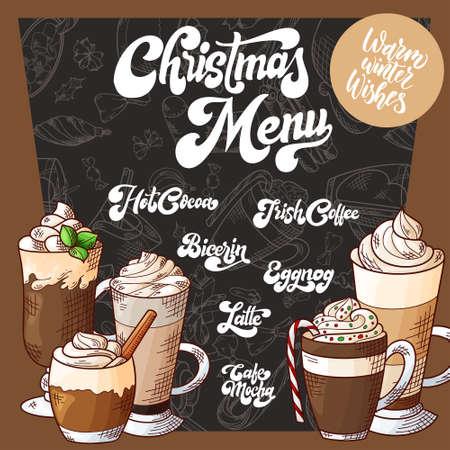Hand drawn hot drinks. Menu Christmas design. Template with brushlettering. Winter sketch style. Vector illustration Standard-Bild - 134138421