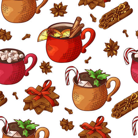 Winter seamless pattern. Cups with hot drinks on hand drawn style. Sketch vector illustration Standard-Bild - 134138423