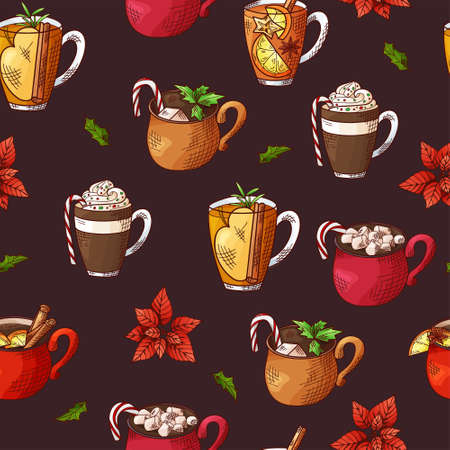Winter seamless pattern. Cups with hot drinks on hand drawn style. Sketch vector illustration Standard-Bild - 134138424