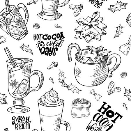 Seamless pattern with hand drawn hot drinks. Sketch winter elements. Holiday christmas vector illustration Vektorové ilustrace
