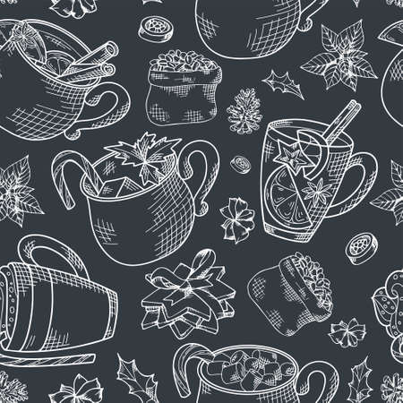 Seamless pattern with hand drawn hot drinks. Sketch winter elements. Holiday christmas vector illustration Standard-Bild - 134138433