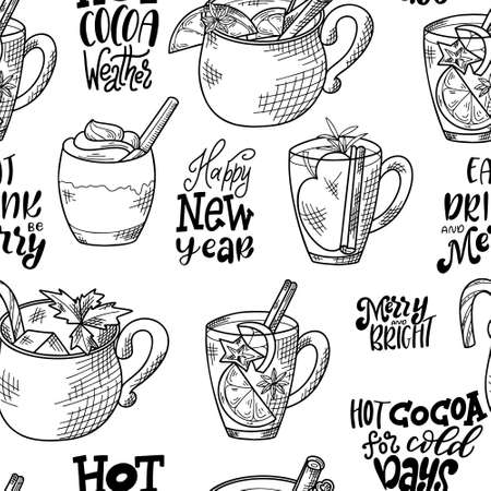 Seamless pattern with hand drawn hot drinks. Sketch winter elements. Holiday christmas vector illustration